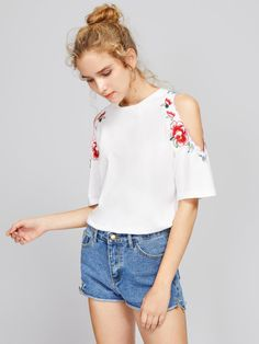 SheIn offers Symmetric Embroidery Trim Open Shoulder Top & more to fit your fashionable needs. White Cold Shoulder Top, Shoulder Tops, Outfits For Teens, Casual Outfits, Look Con Short, Embellished Top, Jacket Dress, Casual Looks, Spring Outfits