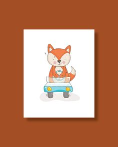 Fox Nursery Art Print Baby Fox Driving a Car by HappyLittleBeans