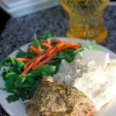 Crock-Pot Pesto Ranch Chicken Recipe | Key Ingredient.  Like the sauce.  Chicken was a little chewy in crockpot.  Would pan fry and then top with a sauce following this recipe plus the juice of one lemon.  Cut pesto in half and drained off oil first.