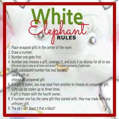 white elephant gifts The White Elephant Gift Exchange is easy on the budget and a fun way to celebrate with family and friends! Use our White Elephant Gift Exchange Rules and Printables to make your Christmas party a smashing success! Christmas Gift Exchange Games, Xmas Games, Fun Christmas Games, Holiday Party Games, Xmas Party, Christmas Activities, Family Christmas, Christmas Traditions, Christmas Holidays