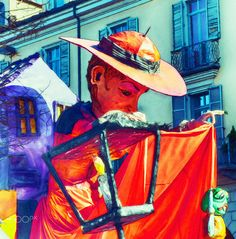 character carnival - on a float in a parade
