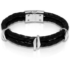 Men's black leather bracelet with silver beads (£275) ❤ liked on Polyvore featuring men's fashion, men's jewelry, men's bracelets, mens bracelets, mens woven leather bracelets, mens woven bracelets, mens leather braided bracelets and mens beaded bracelets