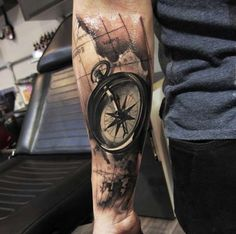 Photorealism Compass Tattoo by Piotr Deadi Dede