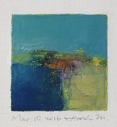 Mar. 10, 2016 - Original Abstract Oil Painting - 9x9 painting (9 x 9 cm - app. 4 x 4 inch) with 8 x 10 inch mat