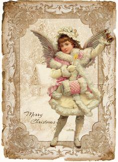 Design Free digital vintage stuff by myra Vintage Christmas Images, Victorian Christmas, Pink Christmas, Christmas Pictures, Christmas Angels, Christmas Greetings, Vintage Images, Merry Christmas, Vintage Designs