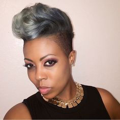 This cut and color on @dreamfacethemua is so fierce! #Love #GrayHair #ShavedSide #VoiceOfHair ========================= Go to VoiceOfHair.com ========================= Find hairstyles and hair tips! =========================