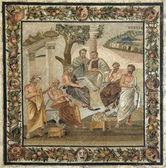 Plato's academy. Mosaic from Pompeii (Villa of T. Siminius Stephanus). Second style.  Date: Early 1st century BC.  (Museo archeologico nazionale di Napoli)