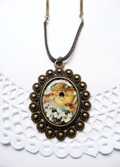 Birds Nest Pendant Robin Necklace Picture Pendant Birdnest Necklaces Floral Art Pendant Mother Gifts Printed Cameo Expecting Mom Gift (14.50 USD) by Portenya