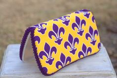 LSU purple and gold fleur de lis baby wipes travel by MAMMADEUX, $15.00