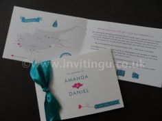 Come away with us wedding invite - white, teal and pink ©www.invitingu.co.uk