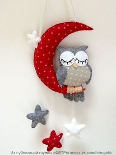 FETHorolic (Korean felt and accessories) - Enfeites de porta - Owl Crafts, Baby Crafts, Diy And Crafts, Crafts For Kids, Fabric Crafts, Sewing Crafts, Sewing Projects, Felt Christmas, Christmas Crafts