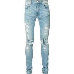 Amiri ripped super skinny jeans (990 CAD) ❤ liked on Polyvore featuring men's fashion, men's clothing, men's jeans, men, pants, blue, mens torn jeans, mens distressed jeans, mens ripped skinny jeans and mens blue jeans