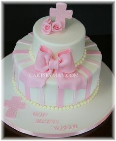 Image detail for -Pink Girls Christening Cake - Cakes by Maylene Pretty Cakes, Beautiful Cakes, Christening Cake Girls, Baptism Cakes, Baptism Party, Baptism Ideas, Confirmation Cakes, First Communion Cakes, Rhubarb Cake