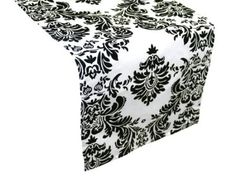 "Amazon.com: 12"" x 108"" Flocking Taffeta Table Top Damask Runners - Black: Kitchen & Dining"