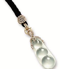"""Icy Jadeite """"Peadpod"""" and Diamond Pendant"""