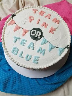 This Fun Gender Reveal Baby Shower Cake, ended up being Team Pink!