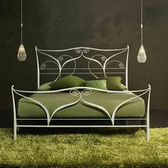 Wrought iron bed Klimt @myitalianliving | Green and grey colour interior | white classic design | Luxury metal bed | Available as King/Double/Single
