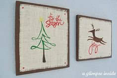 burlap wall decor with silhouette stencils, burlap and wood
