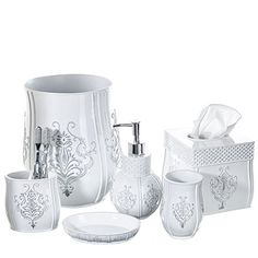 Creative Scents Vintage White Bathroom Accessories Set 6 Piece Bath Set  Collection Features Soap Dispenser Toothbrush