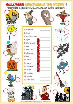 Halloween ESL Unscramble the Words Worksheets For Kids Halloween Vocabulary, Halloween Worksheets, Halloween Activities For Kids, Halloween Kids, Halloween Games, Halloween Crafts, English Activities, Teaching Activities, Vocabulary Worksheets