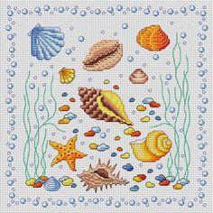 Cross Stitchers Club Shells Cross Stitch Sea, Cross Stitch For Kids, Cross Stitch Bookmarks, Cross Stitch Borders, Cross Stitching, Cross Stitch Embroidery, Cross Stitch Patterns, Hand Embroidery Designs, Embroidery Patterns