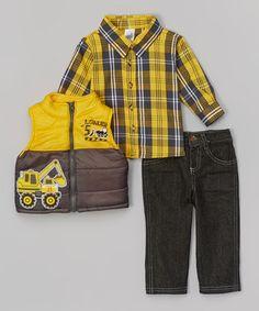 Look what I found on #zulily! Yellow & Gray Loader Appliqué Vest Set - Infant #zulilyfinds