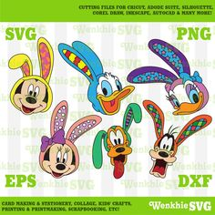 Mickey and Friends Easter Bunny Bundle Cutting File Printable, SVG file for Cricut Disney Symbols, Fall Pallet Signs, Easter Cartoons, Disney Mickey, Disney Magic, Mickey Mouse Wallpaper, Bottle Cap Images, Mickey And Friends, Cartoon Pics