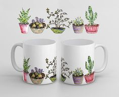 Cactuses Coffee Mug Cacti Tea Cup Sucullents Ceramic Presents For Friends, Gifts For Coworkers, Coffee Gifts, Funny Coffee Mugs, Ceramic Painting, Pottery Painting, Paint Garden Pots, Cactus, Tea And Books