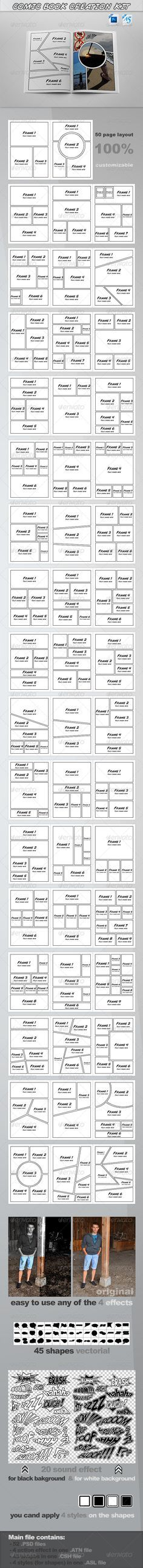 ComicBook Creation Kit Detail: 50 page templates size) & sound effects (two tipe , for black & white background) in 52 . Comic Book Layout, Comic Books Art, Comic Art, Book Art, Doodle Drawing, Comic Drawing, Drawing Tips, Comic Tutorial, How To Make Comics