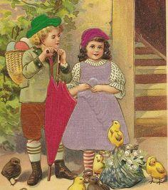Stunning Silk Easter Postcard  Children with by TheOldBarnDoor, $5.00