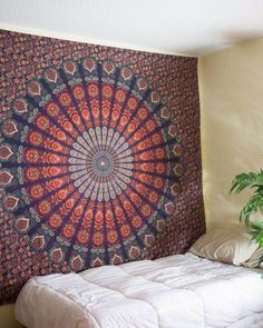 Colorful Blue Mandala Tapestry / Mandala Wall Hanging / Mandala Bedspread