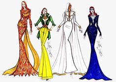 Marvel Couture collection by Hayden Williams: Dark Phoenix, Rogue, Storm & Mystique