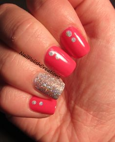 Cute glitter and hot pink nails