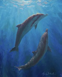Dolphin Dance - Underwater Whales by Karen Whitworth