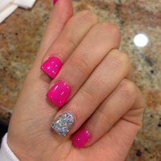 What manicure for what kind of nails? - My Nails Pink Summer Nails, Hot Pink Nails, Fancy Nails, Trendy Nails, Love Nails, My Nails, Feet Nails, Dipped Nails, Super Nails