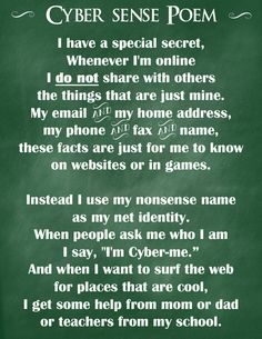 Cyber-Sense Poem - Tips to keep them safe & prevent cyber-bullying {Free Printable}