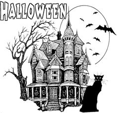 Scary Castle Halloween Color Page Holiday Coloring Pages Plate Sheetprintable Picture