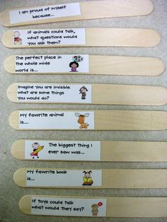 "Attach writing prompts to popsicle stick and add them to the writing center. I""m always having to change that dang station...now they can do it themselves!"