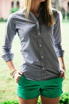Navy gingham long sleeved shirt. Emerald green shorts. Preppy casual. Stitch Fix 2016 Summer/Spring