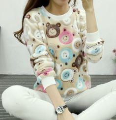 Cute Teddy Bear Harajuku Christmas Sweater Womens Sweaters Fashion Winter Lined Wool Sweater Cashmere Knitted Sweater Wol