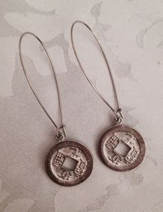 Pewter Fortune Coin Earrings by Stella & Ellie on Etsy, $10.00