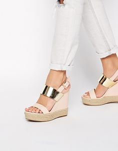 ASOS wedge heels.... pressing purchase! Gotta love a metallic accent for spring style.