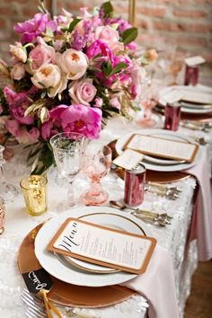 BBJ Linen - White Bouquet Overlay & Pink Peony Filled Tabletop by Christine Janda Design + Events Becky Brown Photography Pink Wedding Decorations, Reception Decorations, Event Decor, Ideas Para Organizar, Beautiful Table Settings, Decoration Table, Pink Peonies, Wedding Table, Event Planning
