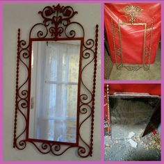 Ornate metal frame found at a thrift store, painted red with Ace spray paint and mirror replaced using dump find medicine cabinet door. Cabinet Doors, Medicine Cabinet, Reuse, Thrifting, Repurposed, Recycling, Diy Projects, Mirror, Store