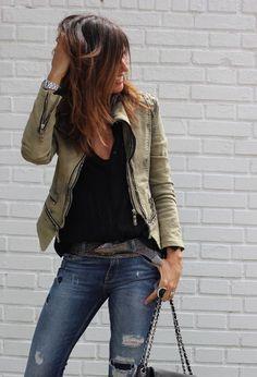 Jeans, black tee, leather jacket