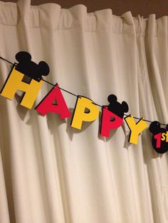 Mickey Mouse Birthday Banner by ParadiseParties on Etsy
