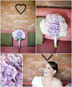 My bridal bouquet idea - white hydrangeas with hints of purple