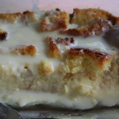 - White Chocolate Bread Pudding with White Chocolate Sauce