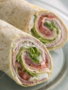 Deli Tortilla Wrap Cut in Half — Stock Photo #4765285