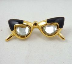 Avon Eye Glasses Brooch Pin Gold Tone Travel Tac by Sisters3andMe $9.98